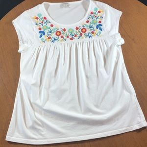 J Crew white baby-doll tee, embroidered flowers